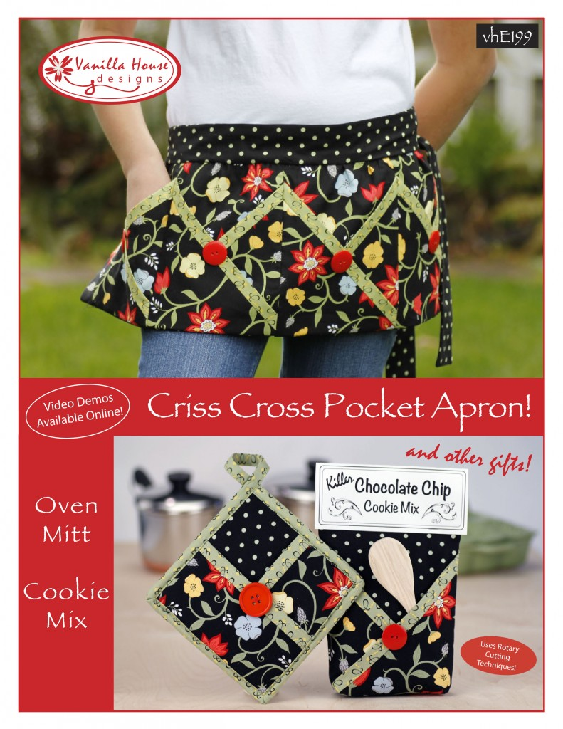 White half apron with pockets - P199 Criss Cross Pocket Apron