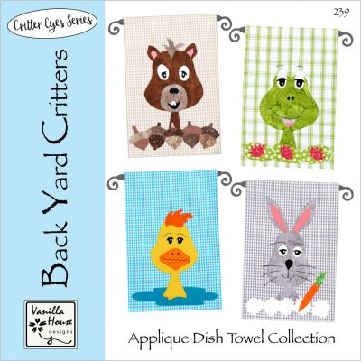 Back Yard Critters Applique Dish Towels