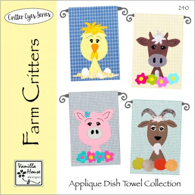 Farm Critters Applique Dish Towels